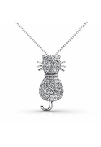 Her Jewellery white Her Jewellery Kitty Pendant (White Gold) with Necklace Chain with 18K Gold Plated E06D1AC0F1B099GS_1