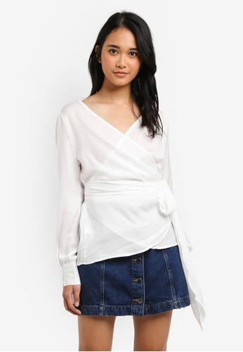ONLY white Natalia Wrap Top A137FAADFDCF1EGS_1