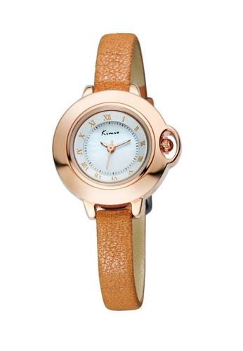 Eyki gold and brown Eyki Kimio KW515S Women's Leather Watch (Gold Brown) EY078AC49RPIMY_1