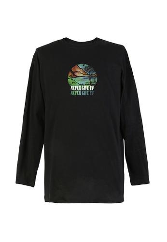 BSX black BSX Garment print crew neck oversize long sleeve tee (Online exclusive) -  Batik art 0408069820 80A68AA018EDE2GS_1