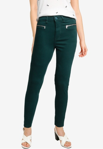 Springfield green High Rise Zips Jeans 86163AA2145674GS_1