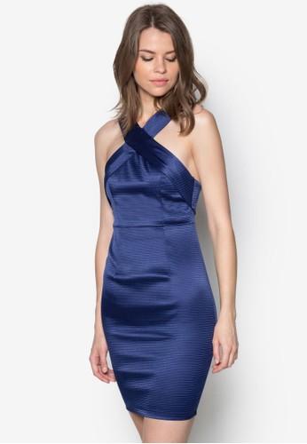 Gwen 交叉繞脖領zalora鞋子評價連身裙, 服飾, 洋裝