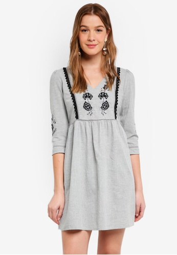 Dorothy Perkins grey Grey Embroidered Smock Dress 92379AACC82B2CGS_1