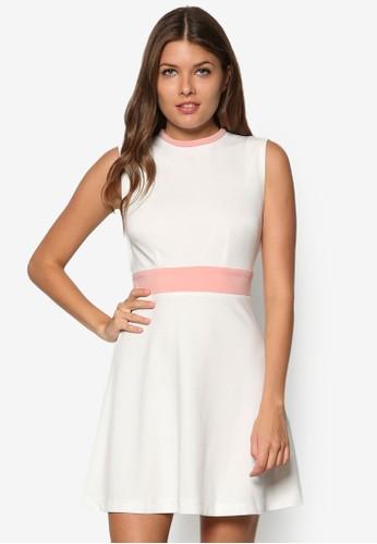 撞色高zalora 包包評價領修身洋裝, 服飾, 正式洋裝