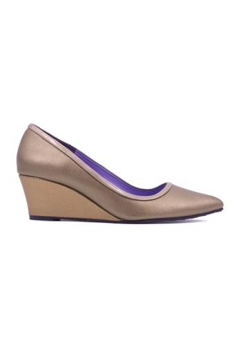 Flatss & Heelss by Rad Russel brown Pointed Toe Wedge Pumps-Bronze FL655SH0GHBSSG_1