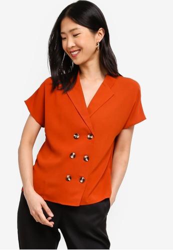 ZALORA BASICS orange Basic Blazer Shirt EA492AA3749FD7GS_1