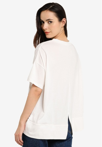 niko and ... white Oversized Slit T-Shirt 88799AA7CD381AGS_1