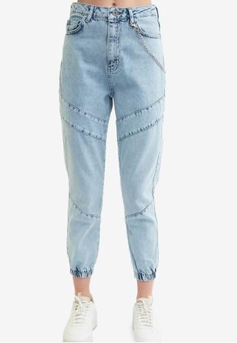 Trendyol blue High Waist Jogger Jeans 99DDAAA9F927A1GS_1