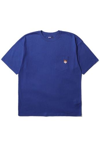 BLOCKAIT navy Akita Ken embroidery pocket tee 96461AA88640BBGS_1