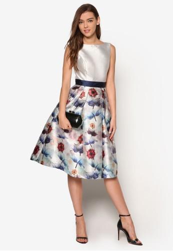 Omari 褶飾印花裙擺洋裝esprit分店地址, 服飾, 洋裝