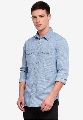 GAP blue Denim Bleached Shirt A0377AA8291160GS_1