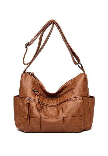 Lara brown Women's Comfortable PU Leather Zipper Shoulder Bag - Brown A0D8CACBF5B053GS_1