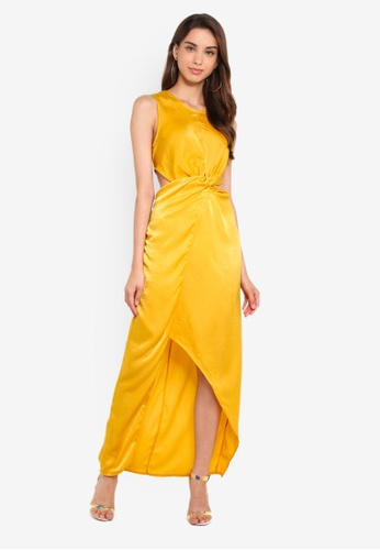 MISSGUIDED yellow Hammered Satin Twist Front Maxi Dress BE0FAAAEF89D44GS_1