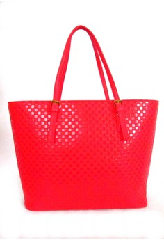 Patent Textured Shopper Tote Bag