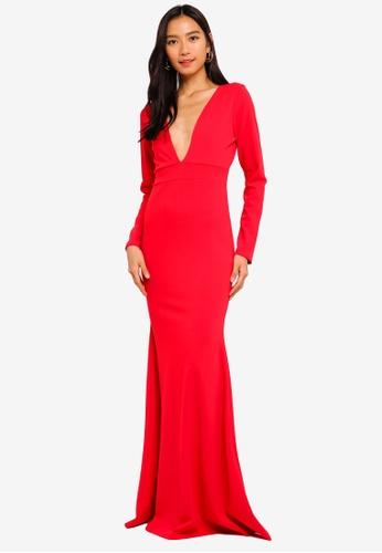 MISSGUIDED 紅色 長袖長洋裝 B4986AA950681CGS_1