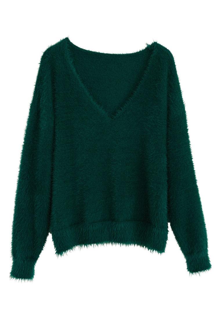 Dark Fur Green Sweater Mango Knit Faux 0SqnZR