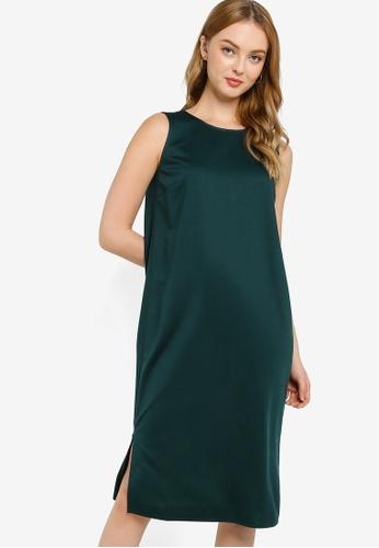 ZALORA WORK green Midi Sleeveless Shift Dress 3E6F2AAB40ED9AGS_1
