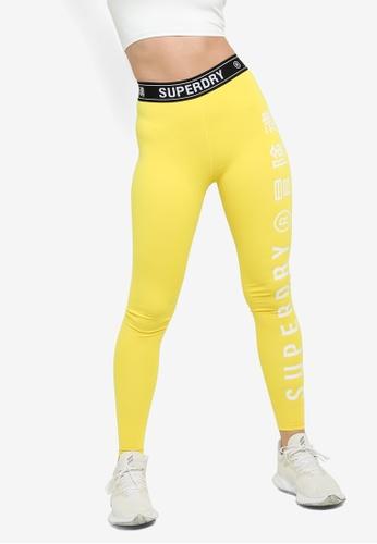 Superdry yellow Training Elastic Leggings - Sports Performance A372EAA4E884ECGS_1