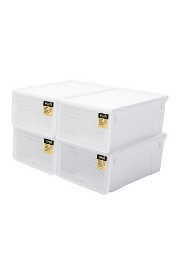 HOUZE white SoleMate - Sliding Lid 'Mens' Shoe Box (Pack of 4) 10A38HLCE4CE0CGS_1