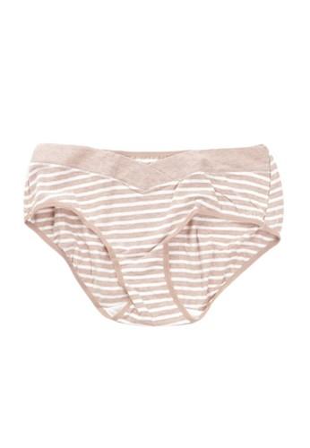 Eve Maternity beige Underbelly Big Stripes Maternity Pants EV584US96MKHID_1