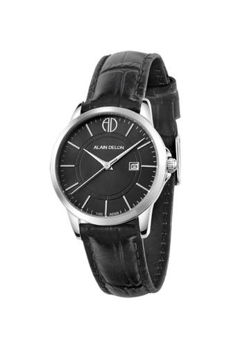 Alain Delon black Alain Delon Women AD328-2339 Black Leather Watch 2C2C7ACD1983ECGS_1