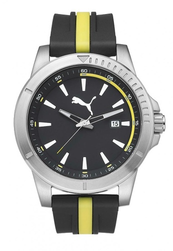 Puma yellow PU911251002 Chaser Silver Black Yellow Silicone Strap Men Watch PU549AC0RKH4MY_1