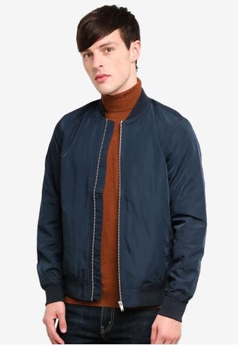 Burton Menswear London 藍色 Nylon Bomber Jacket AA3F3AAA2B6A8BGS_1