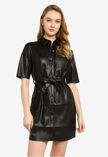 Miss Selfridge black Black PU Shirt Dress 3BC11AAC5E1531GS_1