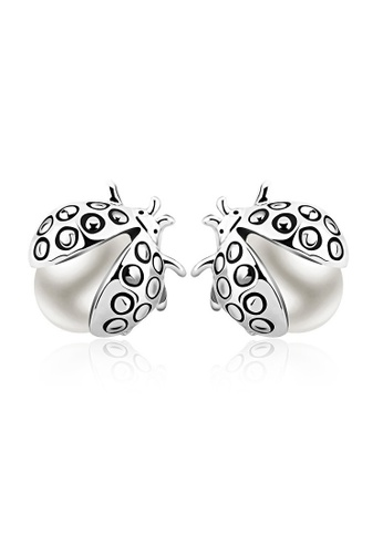 OUXI silver OUXI Beetle Pearl Earrings OU821AC00BKTMY_1