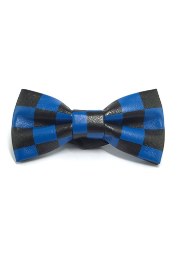 Splice Cufflinks Fluky Series Black & Blue Checked Squares PU Leather Bow Tie SP744AC66QQZSG_1