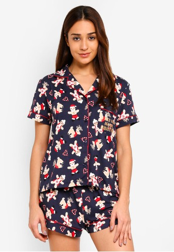 Chelsea Peers multi Navy With All Over Print Gingerbread Man Pyjama Set 22F59AAF95B191GS_1