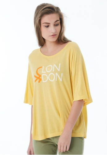 United Colors of Benetton yellow Round Neck T-shirt EC9E5AAA96915BGS_1