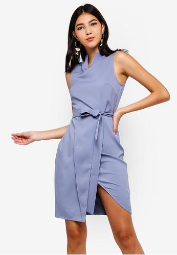 ZALORA blue Notch Neck Dress 0454EAA1C6AE93GS_1