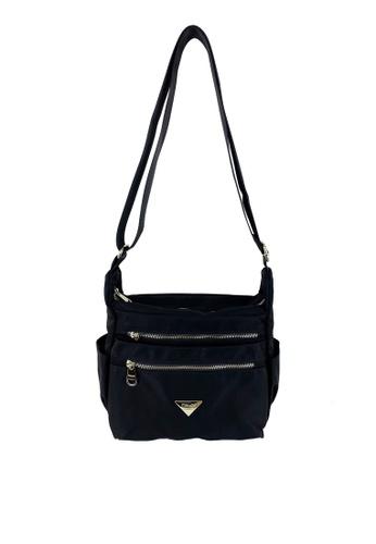 Mel&Co black Nylon Sling Bag 906C1ACD73D189GS_1
