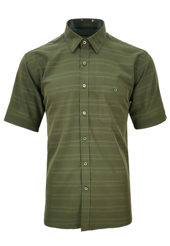 Pacolino green Pacolino [Official] - (Regular) Green Color Stripe Formal Casual Short Sleeve Men Shirt - 11620-S0005-I FCDC9AA3DFB115GS_1