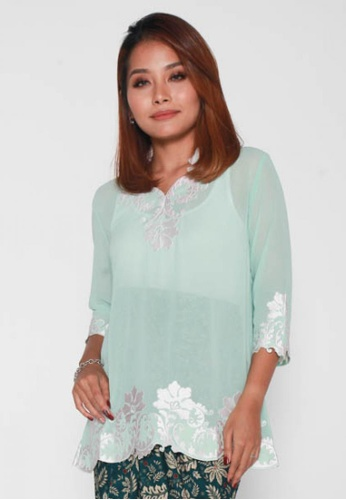 Naphthys Collection green Nesia Embroidery Detail Top 7F206AA2D75C0FGS_1