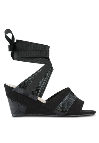 Something Borrowed black Textured Lace Up Wedges B6C8FSH100D869GS_1