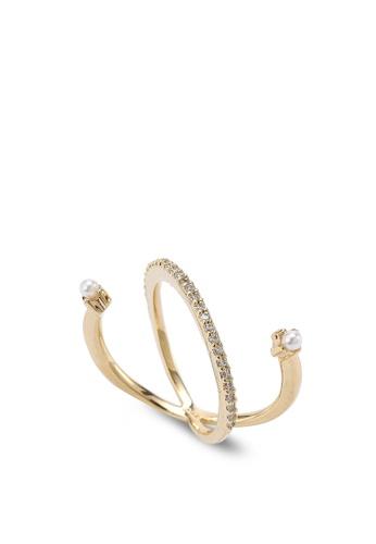 Wanderlust + Co gold Cosmic Orbit Pearl & Crystal Gold Ring WA415AC92VHJMY_1
