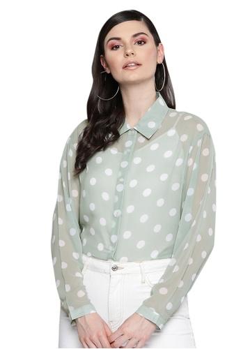 SASSAFRAS green Olive Polka Dot Boxy Sheer Shirt 6176DAA6A4048BGS_1