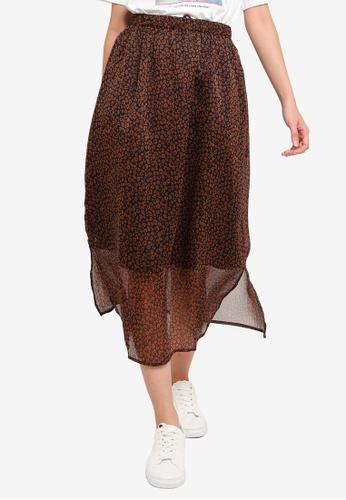 niko and ... brown Printed Slit Skirt DE6F2AA1FC47A1GS_1