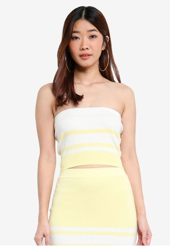 Something Borrowed white Knitted Colorblock Bandeau Top 392CAAA7611B67GS_1