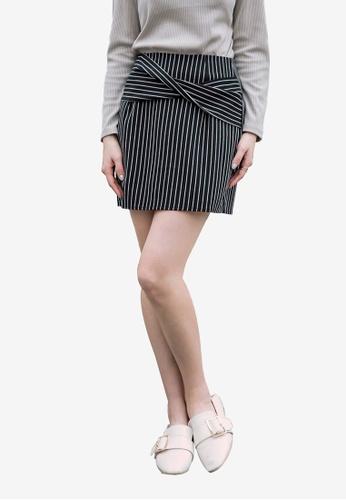 Kodz black Striped Miniskirt E45D9AAFA7FFB6GS_1