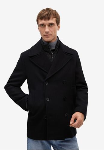 MANGO Man black Inner Gilet Wool Overcoat 0D3A4AA3B77DC3GS_1