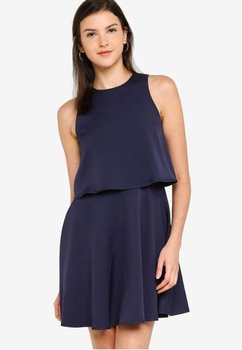 ZALORA BASICS navy Double Layer Fit & Flare Dress 32527AA2DE7969GS_1