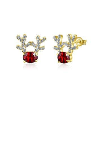 Glamorousky red Fashion Romantic Plated Gold Deer Stud Earrings with Red Cubic Zircon 78A56AC23B635AGS_1