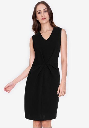 ZALORA WORK black V-Neck Pleat Front Detail Dress 2399AAA0E22C14GS_1