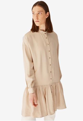 Trendyol beige Mandarin Tunic Shirt 85CD2AA9897838GS_1