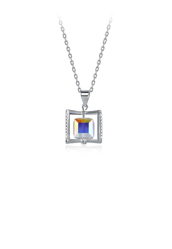 Glamorousky silver 925 Sterling Silver Rotating Square Pendant with Austrian Element Crystal and Necklace AF7F8AC784429DGS_1