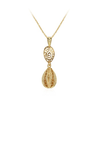 Glamorousky silver Fashion Classic Plated Gold Hollow Water Drop Shaped Pendant with Necklace CC137AC2C67FB8GS_1