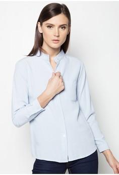 Plain Mandarin Button Down Shirt